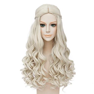 Synthetische Perücken / Perücken Wellen Blond Synthetische Haare Mittelscheitel / Afro-amerikanische Perücke / Geflochtene Perücke Blond Perücke Damen Lang Kappenlos