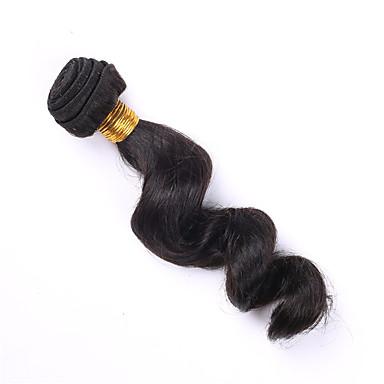 Menneskehår Brasiliansk hår Menneskehår, Bølget Løst bølget Paryk med krøller Hår Ekstensions 1 Stykke Sort