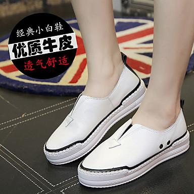 Feminino Sapatos Camurça Primavera Verão Outono Conforto Mocassins e Slip-Ons Sem Salto Para Casual Branco Preto