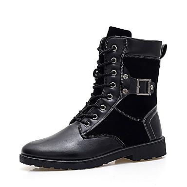Bootsit-Tasapohja-Miehet-PU-Musta-Ulkoilu Rento
