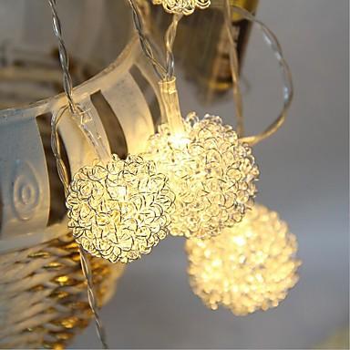 1.5m Cordões de Luzes 10 LEDs Branco Quente Controlo Remoto / Regulável / Impermeável 5 V / LED Dip / Conetável / Cores Variáveis / IP44