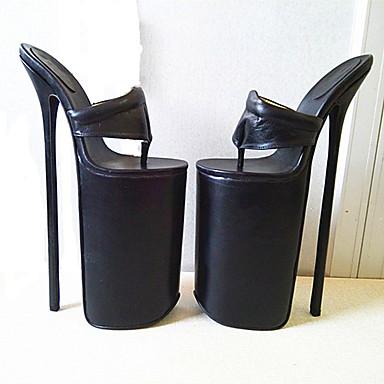 女性用 靴 PUレザー 夏 秋 ヒール スティレットヒール プラットフォーム ラウンドトウ のために パーティー ブラック