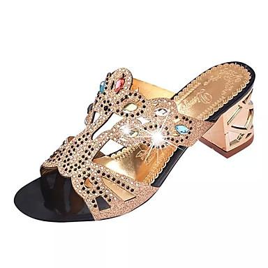 Dames Slippers & Flip-Flops Zomer Comfortabel PU Formeel Blokhak Kristallen hak Blok hiel Kristal Zwart Donkerblauw Blauw