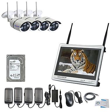 strongshine® 4ch H.264 rakennettu 2TB HDD langattomassa NVR sarjat 12.5inch näyttö & 960p IP-kamera