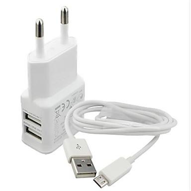 ホームチャージャー / ポータブルチャージャー USB充電器 EUプラグ チャージャーキット / マルチポート USBポート×2 2.1 A