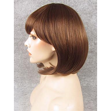 Vrouw Synthetische pruiken Zonder kap Recht Beige Natuurlijke haarlijn Bobkapsel Cosplaypruik Kostuumpruiken