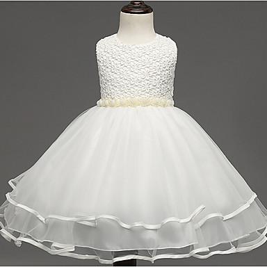 お買い得  女児 ドレス-子供 女の子 カトゥーン 日常 ソリッド 長袖 コットン レーヨン ドレス ホワイト