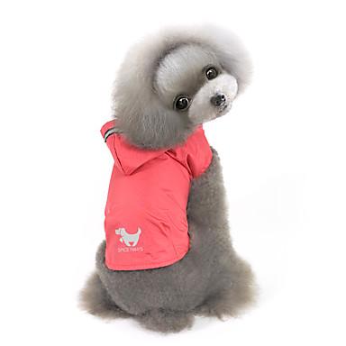 Hund Hettegensere Regnfrakk Hundeklær Ensfarget Gul Rød Blå Nylon Kostume For kjæledyr Herre Dame Vindtett Vandtæt