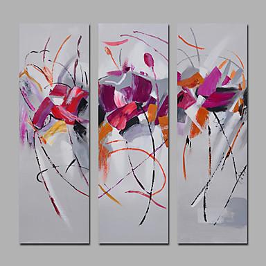 Pintados à mão Abstrato Panorâmico Vertical,Mediterrêneo Moderno 3 Painéis Tela Pintura a Óleo For Decoração para casa