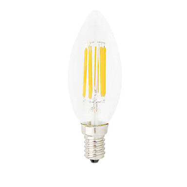 HRY 1pc 6W 560lm E14 Bombillas de Filamento LED C35 6 Cuentas LED COB Regulable Decorativa Blanco Cálido Blanco Fresco 220-240V