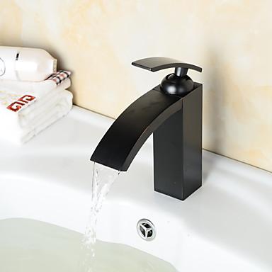 Kylpyhuone Sink hana - Esihuuhtelusuihku / Vesiputous / Laajallle ulottuva Antiikkikupari Integroitu Yksi kahva kaksi reikää