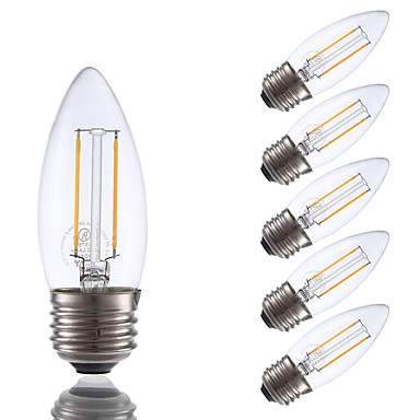 GMY® 6pcs 200lm E26 / E27 LED-gloeilampen B 2 LED-kralen COB Dimbaar Warm wit