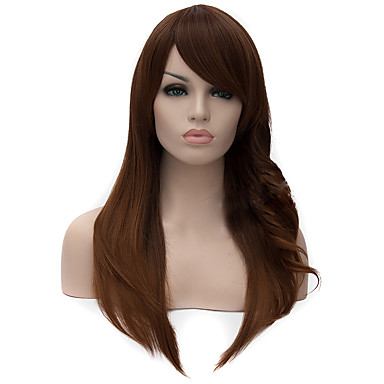 Pelucas sintéticas Recto / Ondulado Medio Corte asimétrico Pelo sintético Entradas Naturales Marrón Peluca Mujer Larga Sin Tapa
