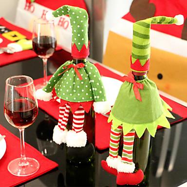 2 stuks wijnfles omvat sets kerstfeest kerstman dop kleding voor fles xmas gift rode nieuwe jaar woondecoratie