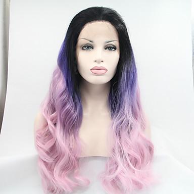 Syntetisk blonder foran parykker Naturlige bølger Naturlig hårlinje Dame Blonde Forside Naturlig parykk Syntetisk hår