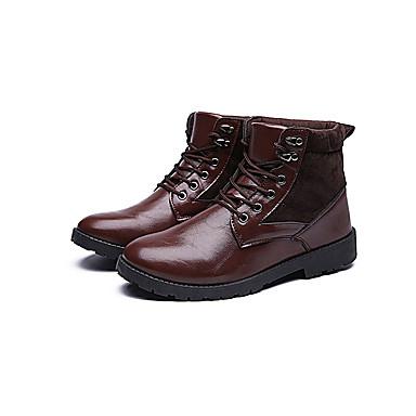 Herrn Schuhe PU Frühling Herbst Komfort Stiefel Schnürsenkel für Normal Schwarz Braun
