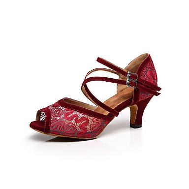 baratos Shall We® Sapatos de Dança-Mulheres Renda Sapatos de Dança Latina / Tênis de Dança / Sapatos de Salsa Presilha Sandália Salto Agulha Personalizável Branco / Preto / Vermelho / Interior / Espetáculo / Couro / Profissional