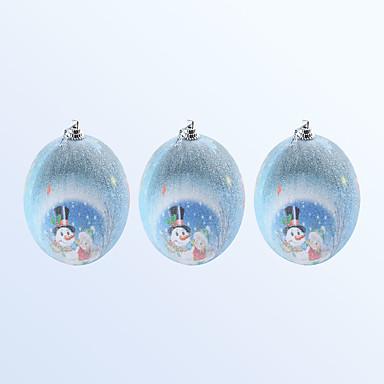 3個のクリスマスの装飾かわいい雪だるまパターンの青色の色のボール
