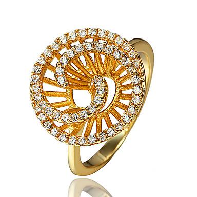 Naisten Sormus Cubic Zirkonia Gold Plated 18K kulta Korut Käyttötarkoitus Häät Party Päivittäin Kausaliteetti