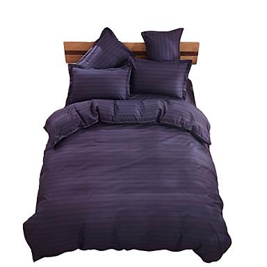 布団カバーセット 縞柄 4個 ポリエステル 反応染料 ポリエステル 1×布団カバー 2×枕カバー 1×フラットシーツ