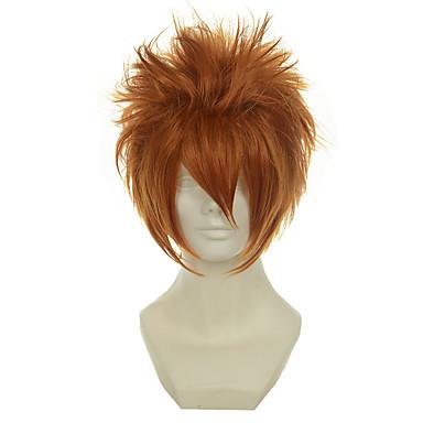 billige Kostymeparykk-Syntetiske parykker / Kostymeparykker Rett Stil Lokkløs Parykk Gul Syntetisk hår Dame Parykk Kort Cosplay-parykk