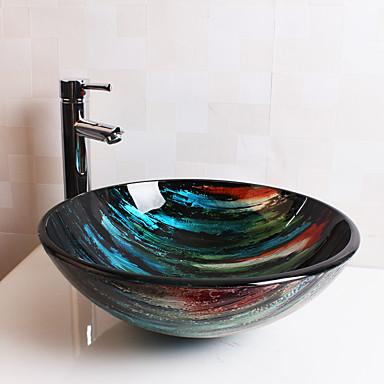 Contemporâneo T12*Φ420*H145MM Redondo material dissipador é Vidro TemperadoPia de Banheiro / Torneira de Banheiro / Anél de Instalação de
