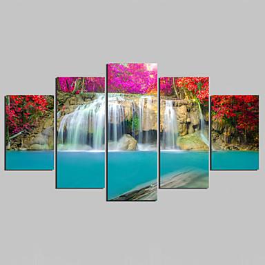 風景 近代の,5枚 キャンバス 任意の形状 プリント 壁の装飾 For ホームデコレーション