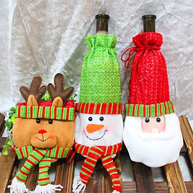 3pcs wijnfles omvat sets kerstfeest kerstman dop kleding voor fles xmas gift rode nieuwe jaar woondecoratie