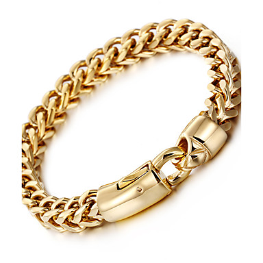 cheap Men's Bracelets-Men's Wheat Chain Bracelet 18K Gold Plated Stainless Steel Titanium Steel Luxury Fashion Hip-Hop Bracelet Jewelry Silver / Golden For Party Gift Daily Casual Street