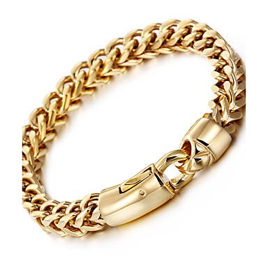 voordelige Herensieraden-Heren Armbanden met ketting en sluiting Tarweketting Baht Chain Luxe Modieus Hip-hop Hip Hop 18 Karaats Verguld Armband sieraden Zilver / Gouden Voor Feest Lahja Dagelijks Causaal Straat