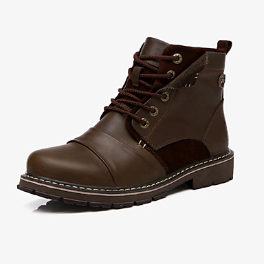 Bootsit-Tasapohja-Miesten-Nahka-Musta Ruskea-Rento-Comfort