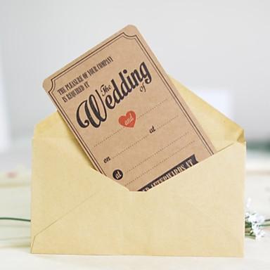 billige Bryllupsinvitasjoner-Flat Kort Bryllupsinvitasjoner Andre / Invitasjonskort / Eksempel på indbydelse Klassisk Materiale / Hardt Kortpapir Blomst