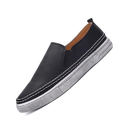 Heren Schoenen Kunstleer Lente Zomer Herfst Winter Comfortabel Loafers & Slip-Ons Voor Causaal Zwart Grijs Bruin
