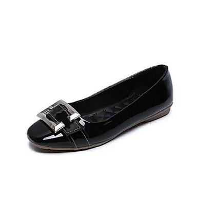 Feminino Sapatos Couro Ecológico Primavera Verão Outono Conforto Rasos Sem Salto Presilha para Casual Preto Cinzento Vermelho Verde