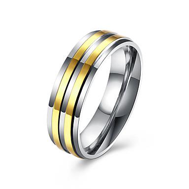Herre Rustfritt Stål / Gullbelagt Band Ring - Mote Gylden Ringe Til Bryllup / Fest / Daglig