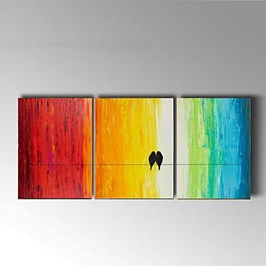 Handgeschilderde Stilleven / Dieren Olie schilderijen,Klassiek / Pastoraal Drie panelen Canvas Hang-geschilderd olieverfschilderij For