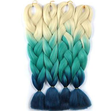 Jumbo laatikko punokset Ombre hiukset hiukset Kanekalon Burgundi Valkoinen Sininen Vihreä Keltainen Hiuspidennykset 24