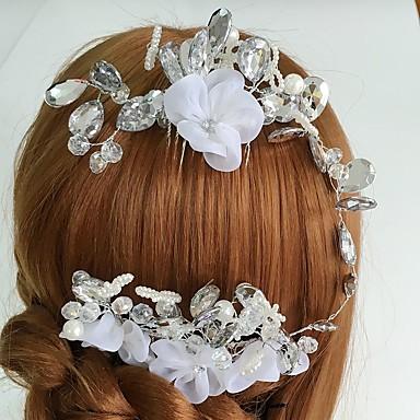 Mulheres Tule Acrílico Liga Capacete-Casamento Ocasião Especial Casual Pentes de Cabelo Flores 1 Peça