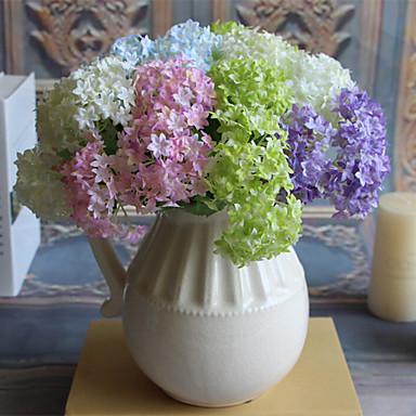 Kunstige blomster 3 Afdeling Moderne Stil Hortensiaer Bordblomst