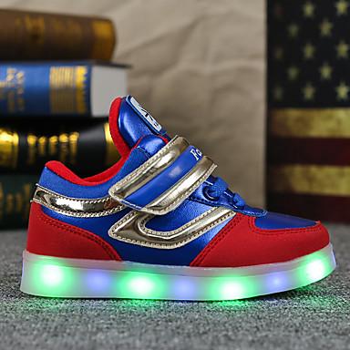 Chico Otoño Zapatillas redondo Negro Azul LED de Confort con PU Zapatos Plano Primavera Dedo Zapatos Hebilla luz 05350387 Tacón Atletismo 6rwCq81xrt
