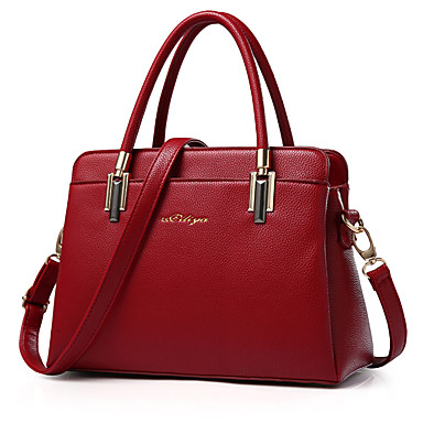 女性用 バッグ PU ショルダーバッグ / ジッパ- ラッフル ワイン / 濃いピンク / ダークグレイ