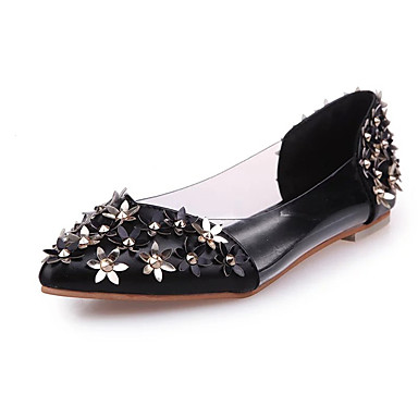 Dames Platte schoenen Lente Herfst Comfortabel PU Kantoor & Werk Formeel Casual Platte hak Sprankelend glitter Bloem Zwart Roze Wandelen