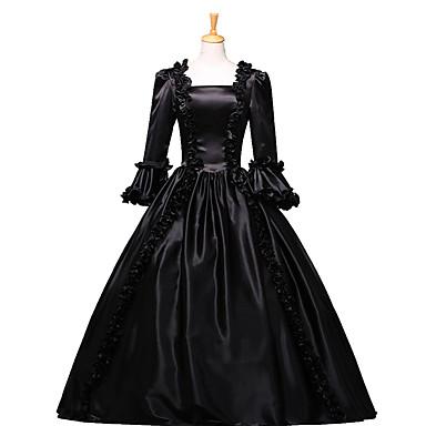Viktoriaaninen Rokokoo Asu Naisten Mekot Naamiaisasu Juhla-asu Musta Vintage Cosplay Pitsi Puuvilla Kokopitkä Pitkä Pituus