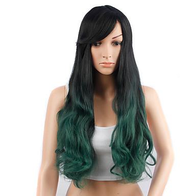 Synteettiset hiukset Peruukit Laineita Suojuksettomat Luonnollinen peruukki Vihreä