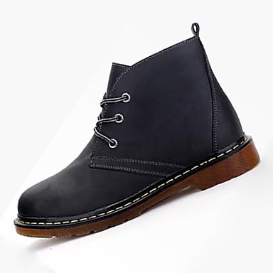 Heren Laarzen Comfortabel PU Herfst Winter Causaal Comfortabel Veters Platte hak Zwart Bruin Plat