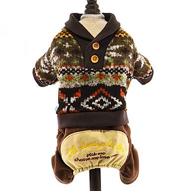 Hund Pullover Overall Hundekleidung Blumen / Pflanzen Dunkelblau Grau Kaffee Baumwolle Kostüm Für Haustiere Herrn Damen Urlaub warm