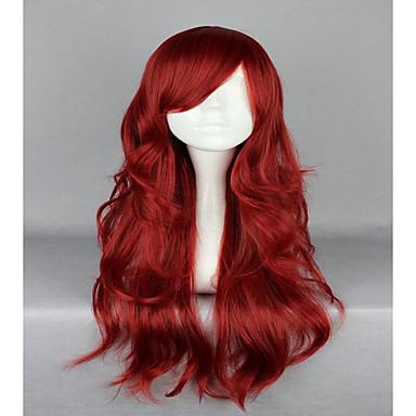 Pelucas sintéticas / Pelucas de Broma Ondulado Pelo sintético Rojo Peluca Mujer Sin Tapa Rojo