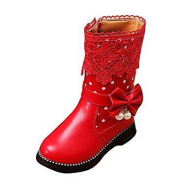 女の子 靴 レザーレット 春 秋 コンフォートシューズ スノーブーツ ブーツ ウォーキング ジッパー のために カジュアル アウトドア ブラック レッド ピンク