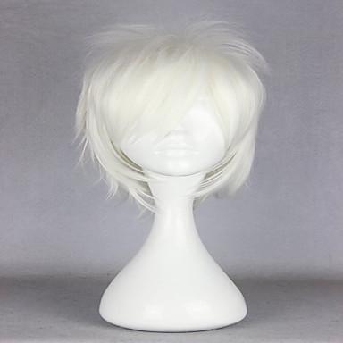 人工毛ウィッグ カール 白 女性用 キャップレス コスプレ用ウィッグ 合成