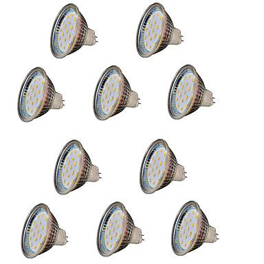 abordables Ampoules électriques-2 W Spot LED 200-300 lm GU5.3(MR16) MR16 18 Perles LED SMD 2835 Décorative Blanc Chaud 12 V / 10 pièces / RoHs